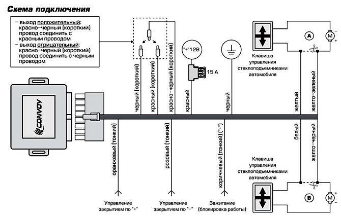 Схема подключения доводчика стекол